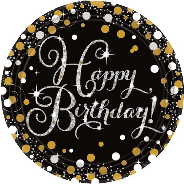 Gold Celebration Happy Birthday Paper Plates